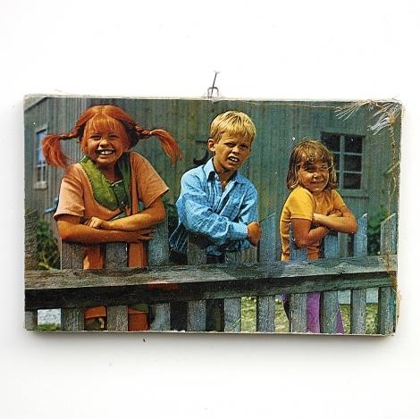 Retro vintage en originele hebbedingen schilderij pippi tommy amika - Versieren haar badkamer ...