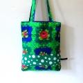 Vintage tas groen met rozen