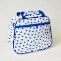 Handtas wit met blauwe stip